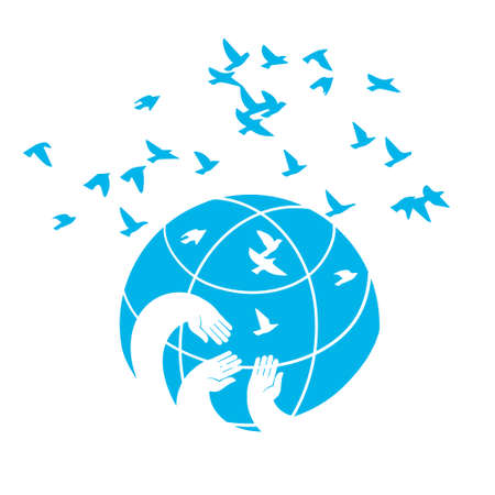 Hands on the globe, releasing into the sky of birds. Universal vector illustration isolated on white background.