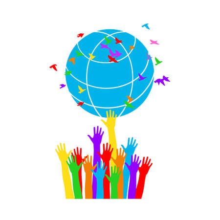 World Environment Day background. Earth Day concept. Vector illustration symbol of peace and harmony.