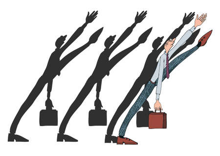 Vector illustration on the theme of office politics. Character in the tie with a briefcase.