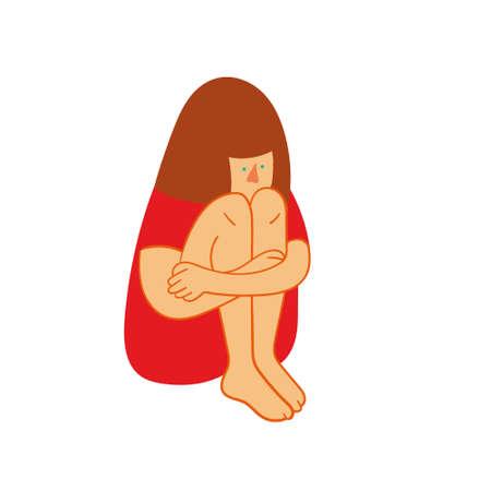 psicologia infantil: niña triste sentado. Triste adolescente con los brazos cruzados y la expresión solitaria