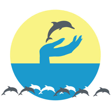 Dolphin in hand and yellow sun and blue sea travel logo. Illustration