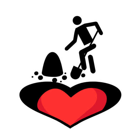 Icon in style of flat. Image of unrequited love. Illustration