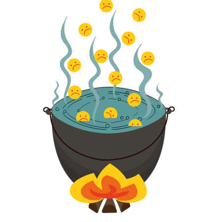vector image of a fantasy story about the sinners boiling in tar
