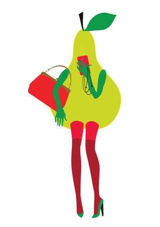 Glamorous fruit is a perfect illustration for a fashion magazine. Vector drawn manually.