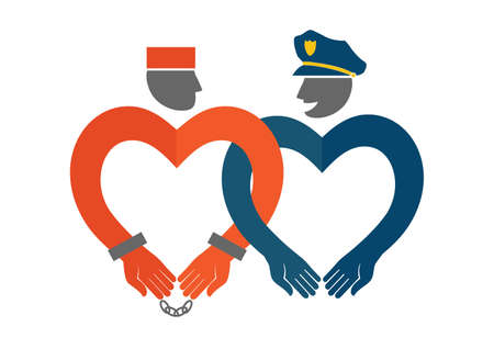 prison guard: A Vector icon of a policeman and a prisoner.