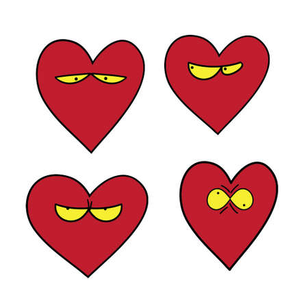 fatigue: Illustrated set of heart characters. Mood love. Can be used as stickers and patches, and for decorating cards and cover notebooks and notebooks. Template for Valentines day