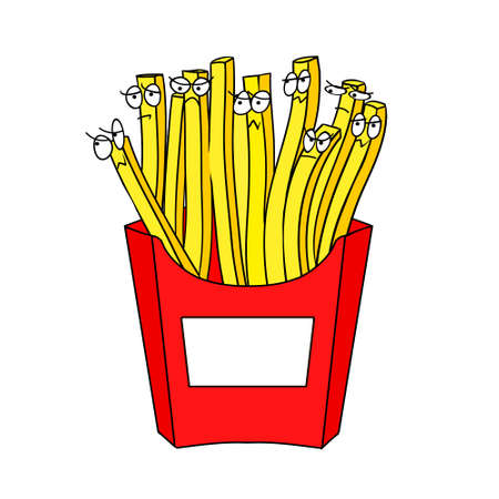 Vector illustration depicting a live potatoes. French fries isolated at the white background