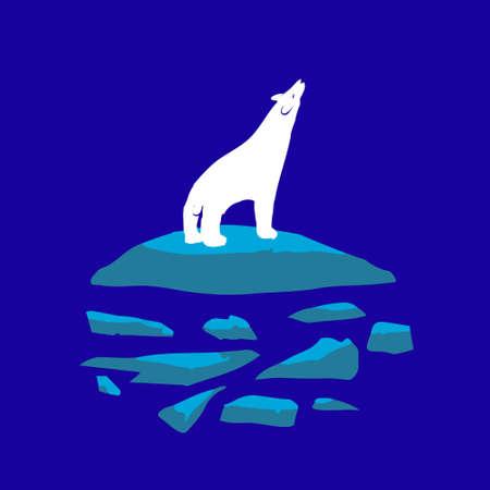 northern light: White polar bear night on the ice.