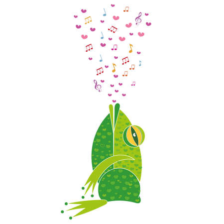 Cute vector illustration depicting a stylized frog. Cute motif to decorate a childs printed products and clothing. Template for Valentines day. Illustration