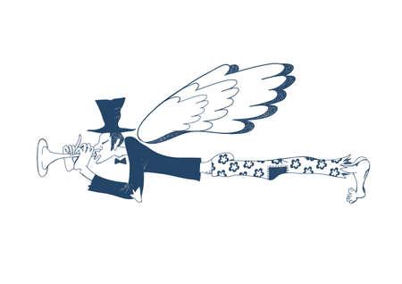 Blue musician. Musician angel.
