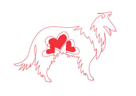 Red line a dog zodiac and heart symbols