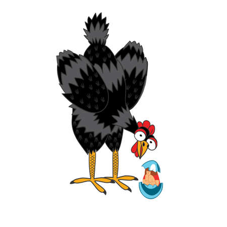 laid: A laying hen laid an egg with a human baby. Funny vector illustration of a handmade comic style.