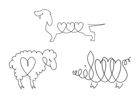 Set of line images of domestic animals - dogs, sheep, pigs. Illustration