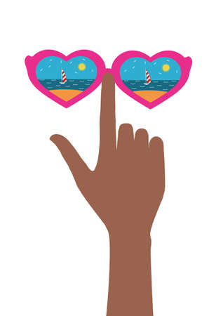 female hand with glasses, glasses which reflect the beach