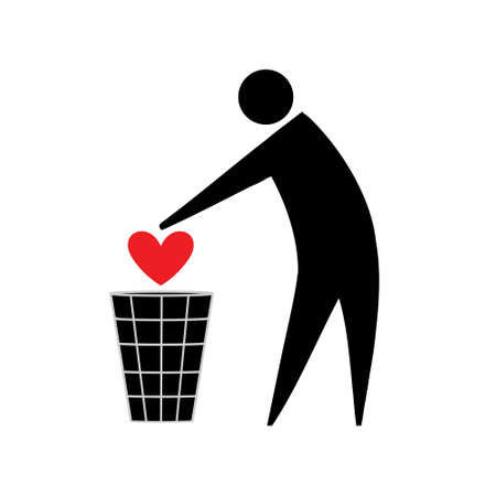 Silhouette of a man throwing a heart in the trash Illustration