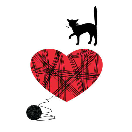 Illustration of a cat with a heart.
