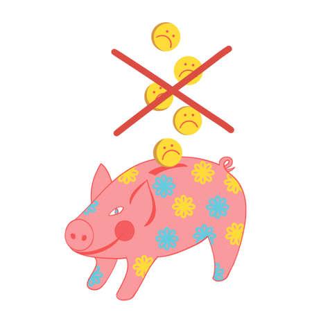 Piggy bank with a coin-sad emoticon.