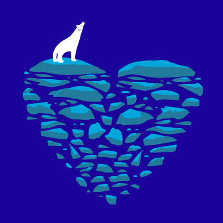 floe: Polar bear on an ice floe. Illustration