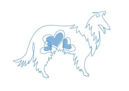 Zarte Strichzeichnung Haustier und Symbol des Jahres