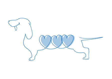 섬세한 라인 그리기 애완 동물과 올해의 상징 일러스트