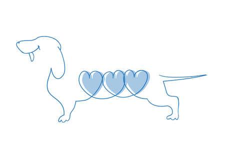 Delicate lijn tekening huisdier en symbool van het jaar