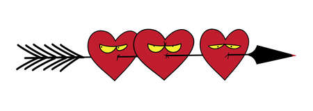 Funny picture. Hearts skewered on an arrow of Cupid. Illustration for greeting cards Valentines Day.