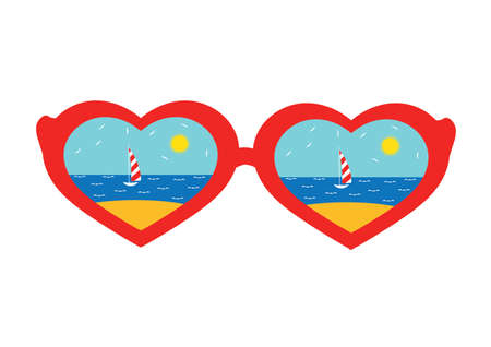 Glasses in the shape of hearts with the reflection of the beach.