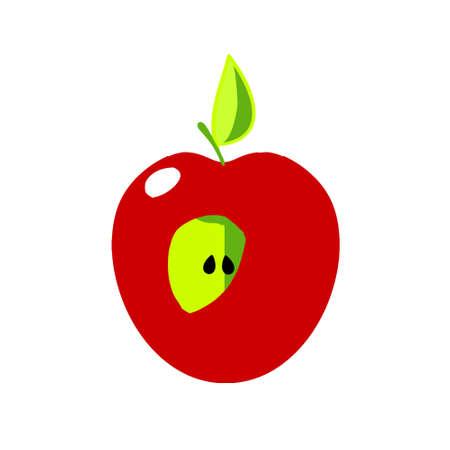 Apple icon - cut fruit. Red apple. Stock Photo