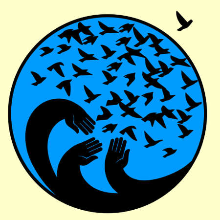 Hands, mourners birds illustration in the circle . Stock Photo