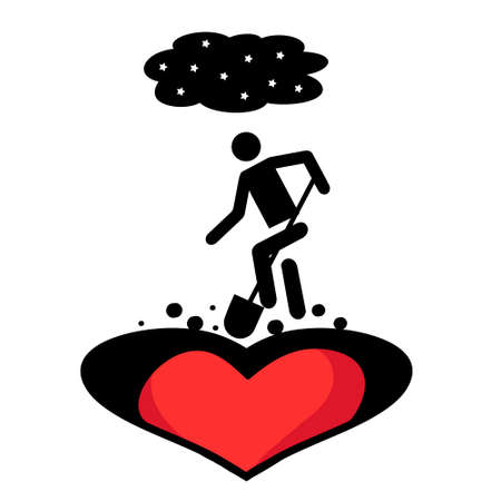 Person digs in the heart at night. Written in the style of flat. Broken heart.