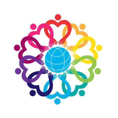 Graphic vector design, hearts and dots. People in the circle, flower ornament icon.