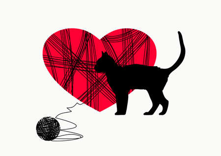 Love to the cat. Metaphor of love. Pattern illustration for Valentine's day.