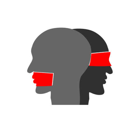 Mouth tied, blindfolded. Communication concept