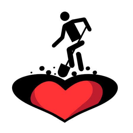 Metaphor of unrequited love or rejection of love. Vector illustration. Stock Illustratie