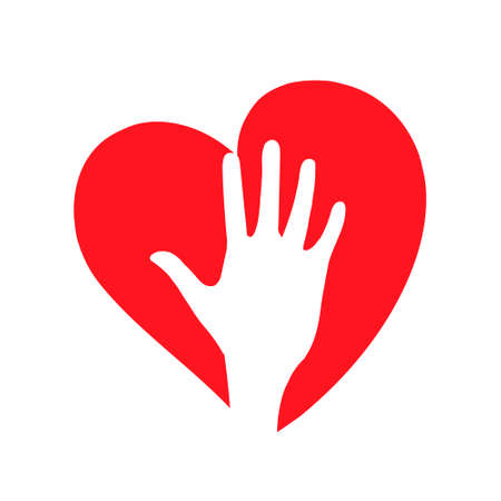 Vector icon heart. Hand on the background of the heart. Symbol of health and love.