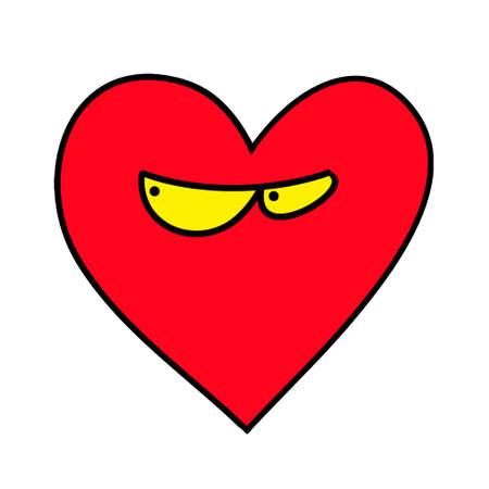 Distrustful heart. Heart agent. Heart Emoticon.