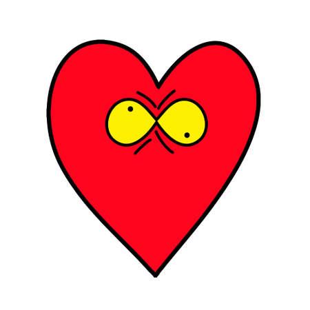Crazy heart. Heart Emoticon. Illustration