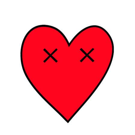 Dead heart. Heart Emoticon.