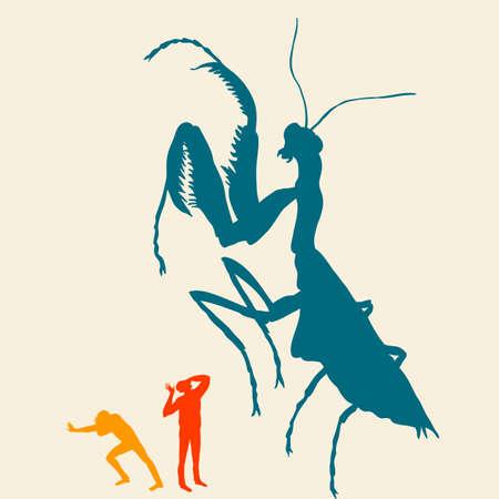 People run away from the praying mantis Stock Photo