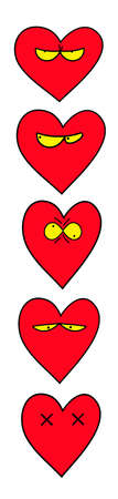 Heart Emoticon. Emoji. For Saint Valentines Day. Isolated vector illustration on white background