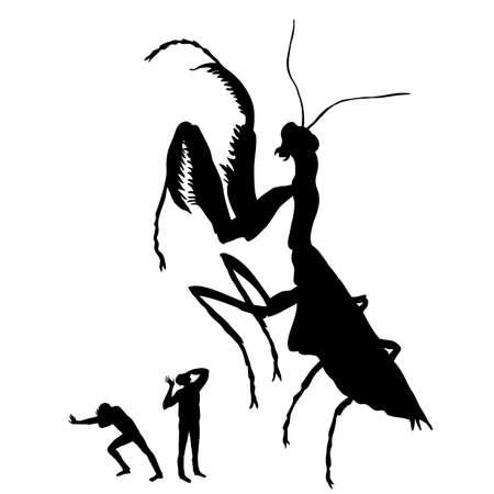 Silhouette of the huge praying mantis.