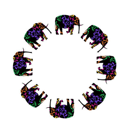 Frame of the elephants in the circle.