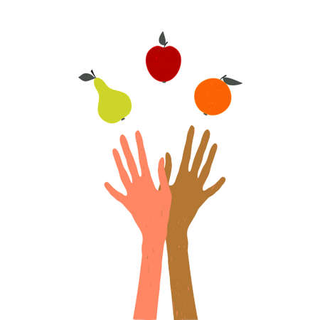 Hands juggling fruit. Vector illustration on the theme of healthy lifestyle, the harvest festival, Thanksgiving Day, the picture on the subject of vegetarianism and diet.