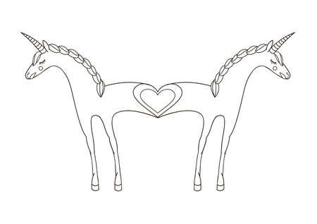 Romantic illustration with enamored unicorns.