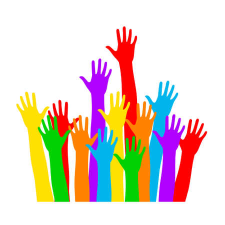 Multi color hands raised up waiting for help