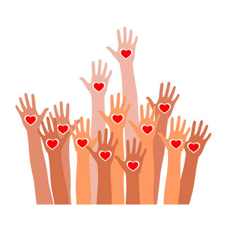 Raised hands with heart icon.
