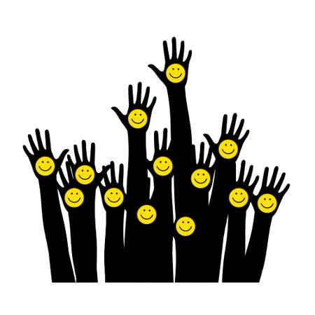 Smiling emoticons. Raised hands. Illustration