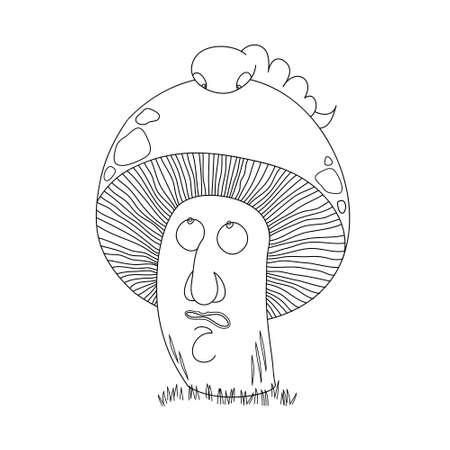 Mushroom and caterpillar. Funny cartoon story. Pineapple. Illustration