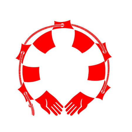 Lifebuoy, red, isolated, vector image.
