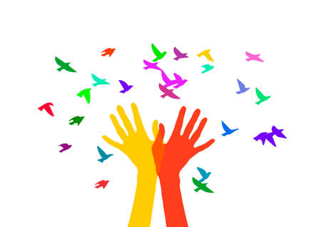 Vector illustration in bright colors. Metaphor of spring. Illustration for t-shirt design, greeting card, invitation.